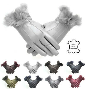 Ladies Genuine Leather Gloves Grey With Fur Trim Bow Fleece Lined Winter