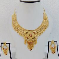 Ethnic Indian 1Gm Gold Plated Fashion Jewelry Wedding Necklace Earrings set a7