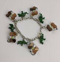 1960s costume jewellery Elephant Charm Bracelet Unusual Vintage