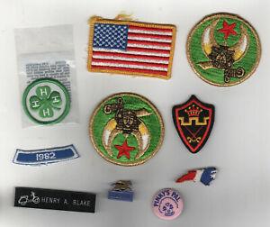 MIXED PIN Patch Lot PATCHES USA Flag LOUISVILLE 4-H Military MASONIC Carolina NC