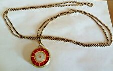 """VINTAGE LUCERNE SWISS ORNATE PENDANT WATCH & 54"""" GOLD CHAIN"""