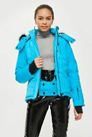 Topshop Blue Snow Ski Jacket With Faux Fur Hood Size UK 6 12