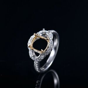 Natural Diamond Ring Semi Mount Cushion 8.5×7.5mm Solid 14K White+Yellow Gold