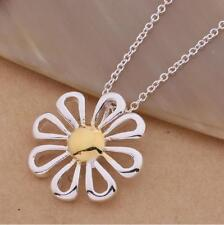 "Shiny 925 Sterling Silver Plated Two Tone Daisy Flower Pendant Necklace 18"" Gift"