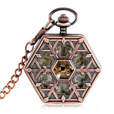 Antique Snowflake Hexagon Shape Mechanical Hand Winding Women Pocket Watch Chain