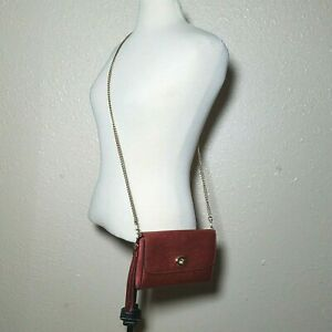 Coach Leather Crossbody Metallic Red Gold Chain Bag Detectable Wristlet