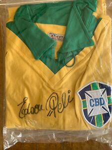 RARE BRAZIL ORIGINAL ATHLETA SHIRT SIGNED BY PELE WITH FULL EDSON PELE SIG FR200