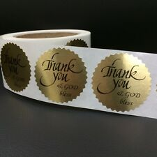 "100 THANK YOU AND GOD BLESS 2"" STICKER Starburst GOLD FOIL NEW THANK YOU"