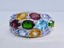 GENUINE RARE 5.27cts! Tanzanite & Multi-Gemstone Band Ring Solid S/Silver 925