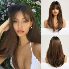 EASIHAIR Long Straight Wigs with Bangs Ombre Brown Ombre Synthetic Wig for Women
