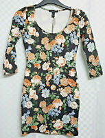 FOREVER 21 Nice Bodycon Dress Size M UK 8-10 Black Floral Stretch Long Sleeve