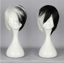 Unisex Mocha Wig Anime Cosplay Afro Short Straight Black and White Ombre Wigs
