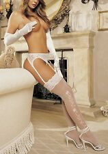 Shirley of Hollywood 90054 Wedding Bell Sheer Thigh High Stockings (White;OS)