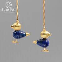Unique Gemstone 18K Gold Bird Drop Earrings for Women Solid 925 Silver Jewelry
