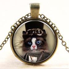 Katze Halskette Glas Cabochon Anhänger Kette vintage retro cat