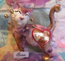 """Aria""  pink WhimsiClay Cat w/heart, + free Sweetheart pin -$12 value"