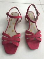Boden Women Sz 38/7 Sandals Shoes Pink Suede Strappy Block Heels NWOB