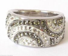 NEW LUMINESSE ring with Swarovski Elements, black diamond and clear, rrp £29.99
