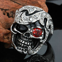 316L Stainless Steel Silver Men's Skull Biker Jewelry Red Crystal Ring Size 8-13