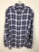 L.L. Bean Shirt Size XL Plaid Cotton Long Sleeve Blue White Button Front Mens