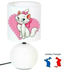 Lampe de chevet MARIE ARISTOCHAT création artisanale type serviettage céramique.