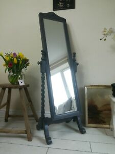 Cheval Full Length Mirror Barley Twist Side Freestanding Painted Grey