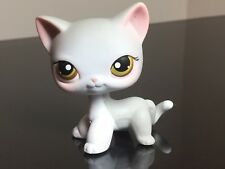 Littlest Pet Shop Cat #138 Short Hair White Grey Pink Ear Brown Eyes USA Seller