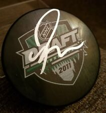 RYAN NUGENT HOPKINS OILERS SIGNED DRAFT PUCK  W/PROOF PIC