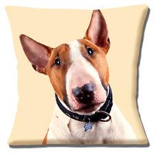 """Bull Terrier Perro Cara en marrón blanco de la foto Imprimir cerrar 16"""" Funda De Almohada Cojín"""