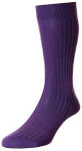 Pantherella Mens Laburnum Merino Wool Socks - Deep Purple