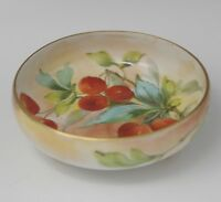 ANTIQUE TRESSEMAN LIMOGES CHERRIES FOOTED BOWL HAND PAINTED 4.7/8""