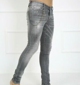NEW DSQUARED2 COOL SLIM FIT WASHED ELASTIC GREY JEANS SUMMER 21