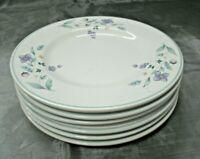 """Pfaltzgraff APRIL Set of 6-8 1/8"""" Salad Plates Floral Stoneware Aqua USA euc"""