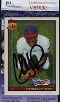 Charles Johnson 1991 Topps Rookie Jsa Coa Hand Signed Authentic Autograph