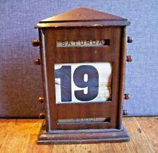 Antique Victorian Dark Oak Perpetual Calendar (Day Date Month Rotating Reels)