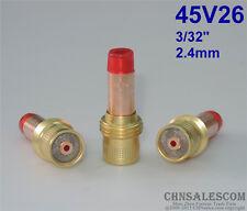 "3 pcs 45V26 Collet Body Gas Lens for Tig Welding Torch WP-17-18-26 2.4mm 3/32"""