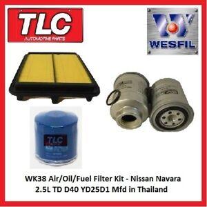 WK38 Air Oil Fuel Filter Kit - Nissan Navara 2.5L TD D40 Diesel Mfd in Thailand