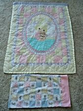 Vintage Precious Moments Baby Crib Blanket Quilt Toddler Bed with Pillow Case