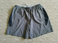 EUC MEN'S SAUCONY RUNNING ATHLECTIC SHORTS SZ. XL GRAY MESH LINER DRAWSTRING