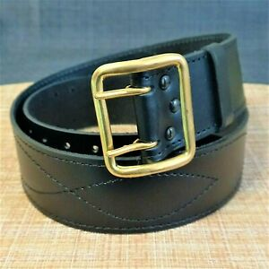 Belt Officer Russian Army natural leather BLACK Buckle BRASS # 04040001
