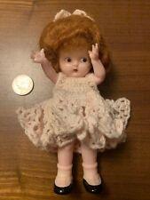 vintage knickerbocker doll with crocheted dress, auburn hair, hard plastic