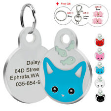 Laser Engraved Cat ID Tag Cute Cat Face Personalised Kitten Collar Tag with Gift