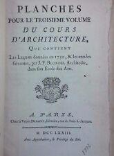 ~RARE~ Planches pour les volumes du Cours d'architecture de BLONDEL 1773 77 BOOK