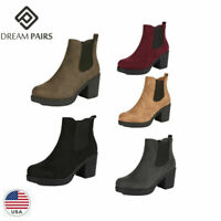 DREAM PAIRS Women's Casual High Chunky Heel Pull On Chelsea Ankle Boots NEW 5-11