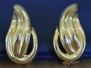 "Ladies Pair of 18k yellow gold clip back pierced earrings Wavy ""S"" Design"