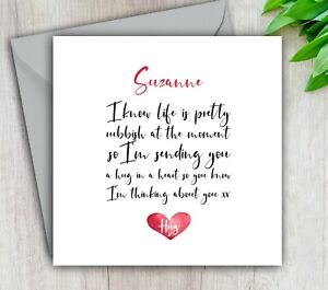 Personalised Thinking Of You Card, Get Well, Sending Hug, Ill Cancer Bereavement