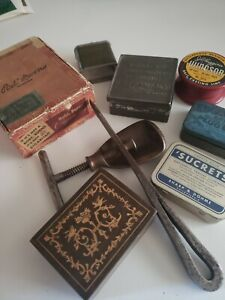 Junk Drawer Vintage lot Tins Boxes Spool Clamp Tool Old
