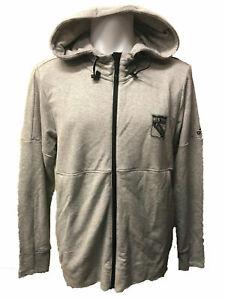 New York Rangers Men's Adidas French Terry Full Zip Hooded Sweatshirt - Gray