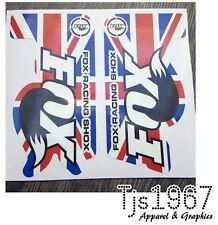 FOX Racing Shox MTB Mountain Bike Vinile Decalcomanie Adesivi Union Jack Design 115x60