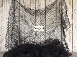 Authentic Used Fishing Net ~ 5'x8' BLACK ~Vintage Fish Netting Fabric For Crafts